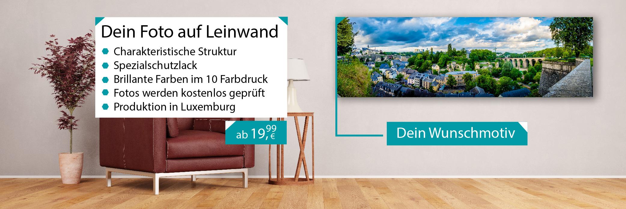 Fotoleinwand bedrucken lassen, personalisierte Geschenke Luxemburg günstig